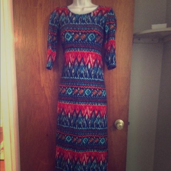 Hot Kiss Dresses & Skirts - Hot kiss body con cut out aztec buttery soft dress
